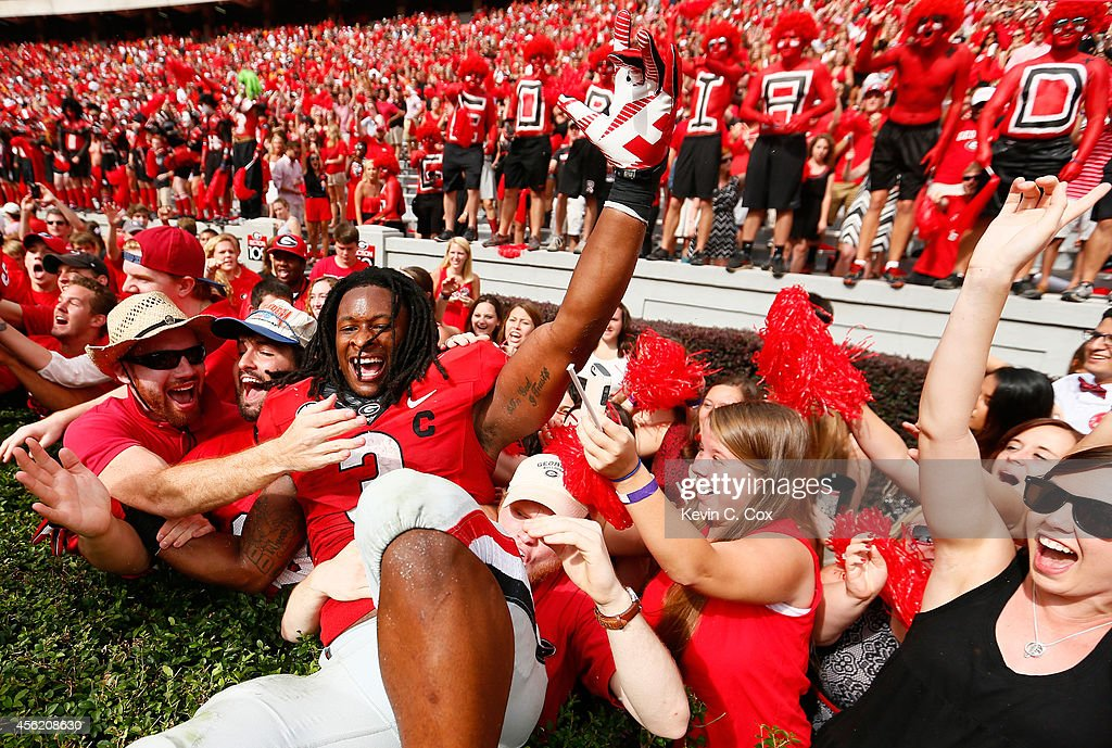 Todd Gurley #3 of the Georgia Bulldogs celebrates their 35-32 over the Tennessee Volunteers at Sanford Stadium on September 27, 2014 in Athens, Georgia.