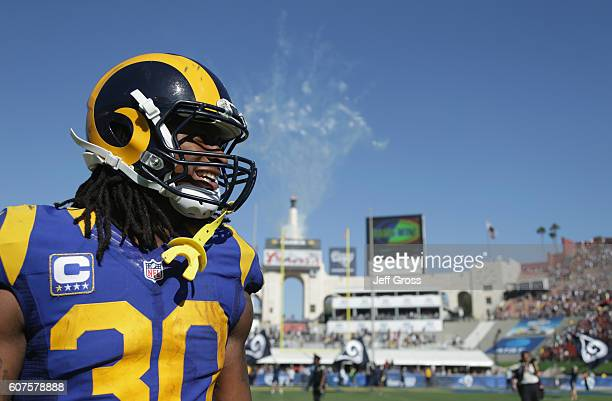Todd Gurley of the Los Angeles Ram celebrates after the Rams defeated the Seahawks 93 in the home opening NFL game at Los Angeles Coliseum on...