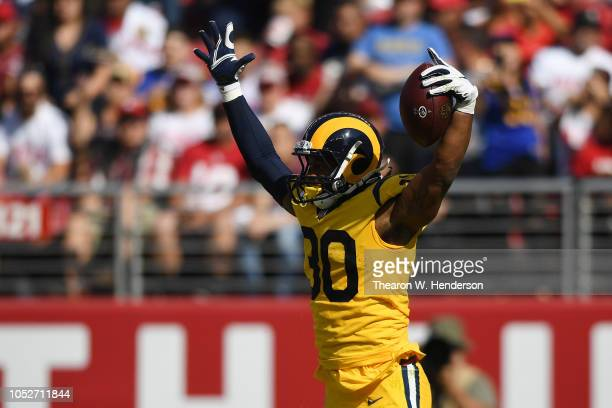 Todd Gurley of the Los Angeles Rams celebrates after a touchdown against the San Francisco 49ers during their NFL game at Levi's Stadium on October...