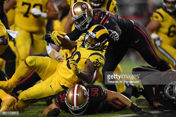 Todd Gurley of the Los Angeles Rams is stopped short of the goal line by the San Francisco 49ers during their NFL game at Levi's Stadium on September...