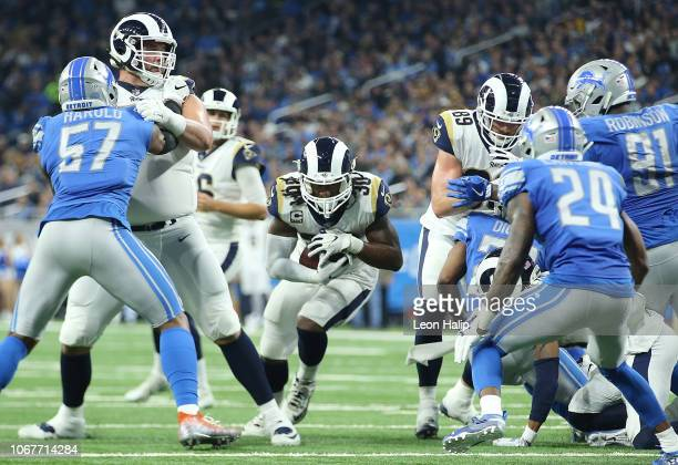 Todd Gurley of the Los Angeles Rams runs for yardage against the Detroit Lions at Ford Field on December 2 2018 in Detroit Michigan