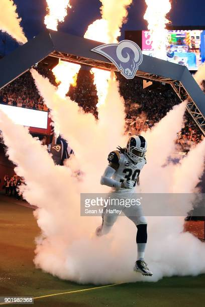 Todd Gurley of the Los Angeles Rams runs onto the field prior to the NFC Wild Card Playoff Game against the Atlanta Falcons at the Los Angeles...