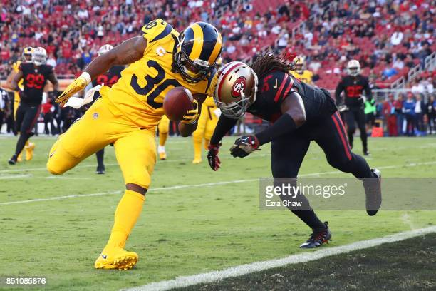 Todd Gurley of the Los Angeles Rams rushes for a touchdown against the San Francisco 49ers during their NFL game at Levi's Stadium on September 21,...