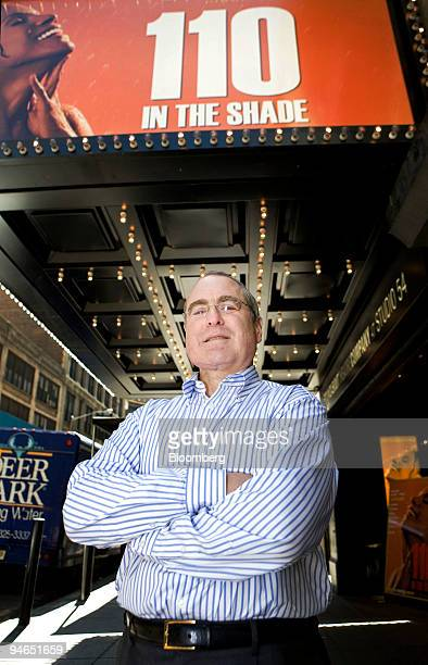 Todd Haimes artistic director for the Roundabout Theatre Company poses in front of Studio 54 where '110 In the Shade' is being performed in New York...