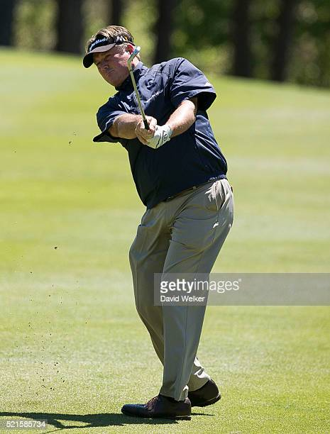Todd Hamilton hits a fairway shot on the first hole during the second round of the Mitsubishi Electric Classic at TPC Sugarloaf on April 16 2016 in...