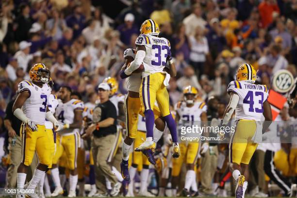 Todd Harris Jr #33 of the LSU Tigers celebrates his interception against the Alabama Crimson Tide in the second quarter of their game at Tiger...