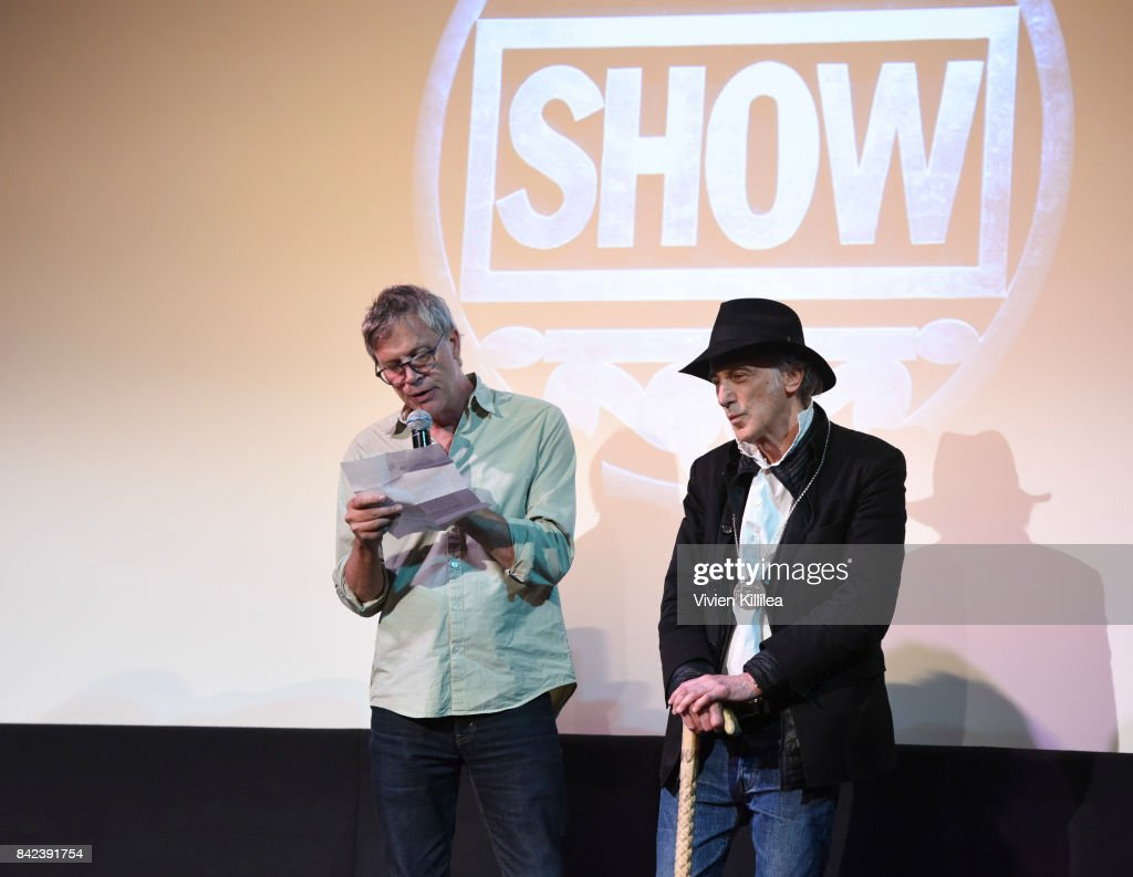 Todd Hayes (L) presents Ed Lachman (R) with a silver medallion tribute at the Telluride Film Festival 2017 on September 2, 2017 in Telluride, Colorado.