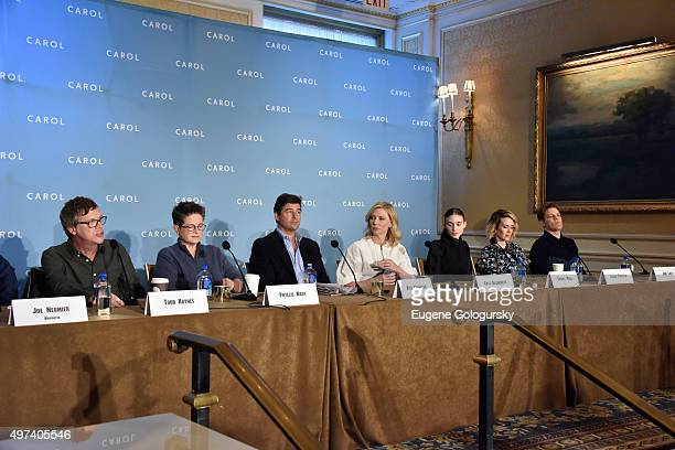 Todd Haynes Phyllis Nagy Kyle Chandler Cate Blanchett Rooney Mara Sarah Paulson and Jake Lacy attend the CAROL New York Press Conference at Essex...