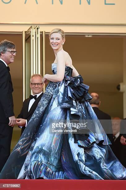 Todd Haynes Thierry Fremaux and Cate Blanchett attend the Carol Premiere during the 68th annual Cannes Film Festival on May 17 2015 in Cannes France