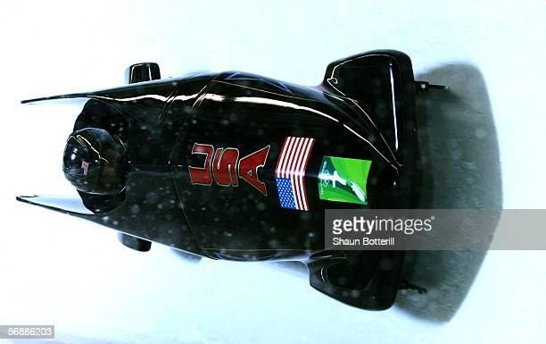 Todd Hays and Pavle Jovanovic of the United States compete in the Two Man Bobsleigh Final on Day 9 of the 2006 Turin Winter Olympic Games on February...