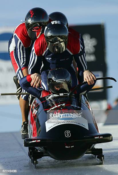 Todd Hays Pavle Jovanovic Bill Schuffenhauer and Steve Mesler enter the USA I bobsled during the final heat of the FIBT 2005 FourMan Bobsleigh World...