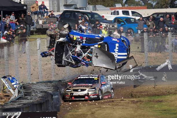 Todd Hazelwood driver of the CoolDrive Racing Holden Commodore VF and Jonothan Webb driver of the Tekno Autosports Holden Commodore VF crashes...