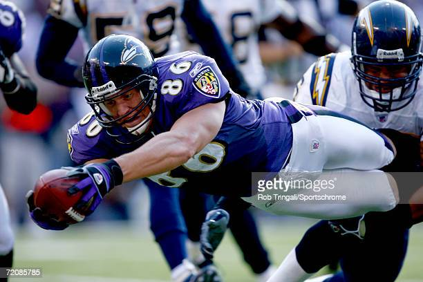 Todd Heap of the Baltimore Ravens dives for a go ahead touchdown in the 4th quarter against the San Diego Chargers on October 1, 2006 at M&T Bank...