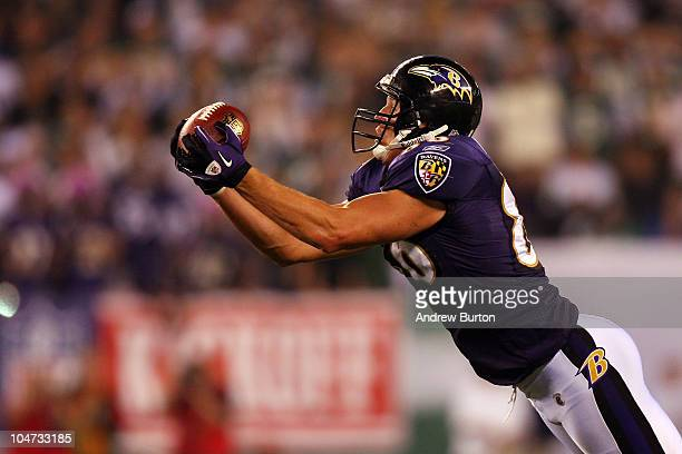 Todd Heap of the Baltimore Ravens in action against the New York Jets during their home opener at the New Meadowlands Stadium on September 13 2010 in...