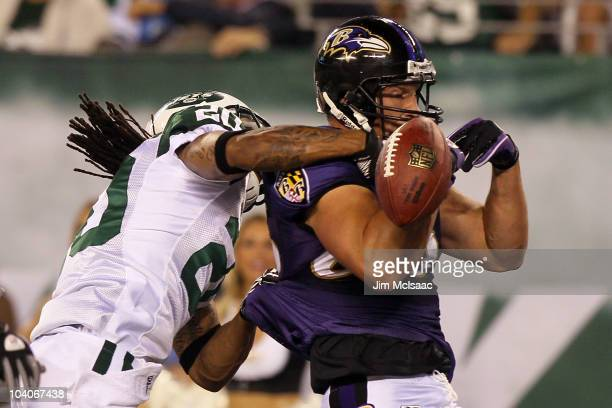 Todd Heap of the Baltimore Ravens misses a pass as he is covered by Kyle Wilson of the New York Jets during their home opener at the New Meadowlands...