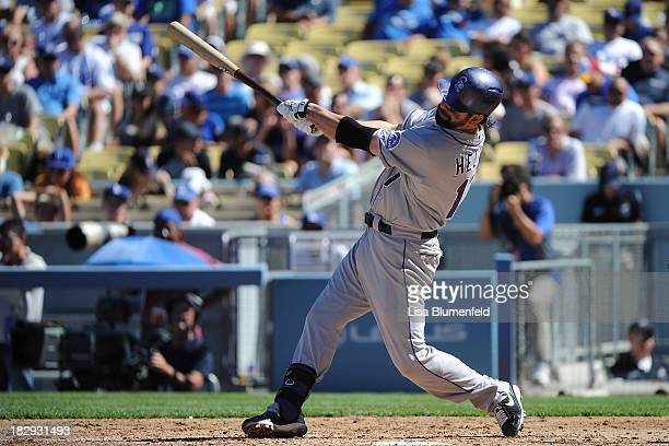 Todd Helton of the Colorado Rockies bats against the Los Angeles Dodgers at Dodger Stadium on September 29 2013 in Los Angeles California Helton is...