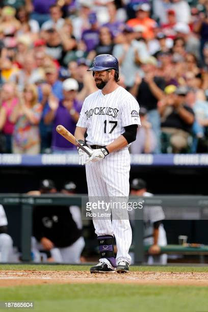 Todd Helton of the Colorado Rockies bats during the game against the Arizona Diamondbacks at Coors Field on September 22 2013 in Denver Colorado The...