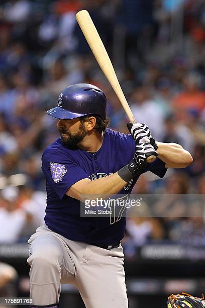 Todd Helton of the Colorado Rockies in action against the New York Mets at Citi Field on August 7 2013 at Citi Field in the Flushing neighborhood of...