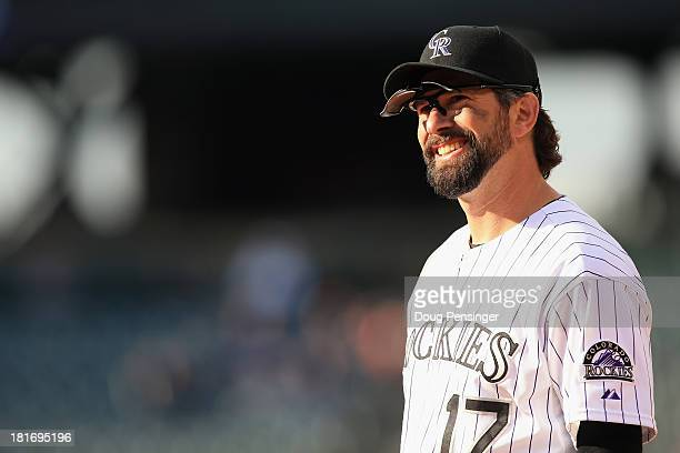 Todd Helton of the Colorado Rockies plays defense against the St. Louis Cardinals at Coors Field on September 19, 2013 in Denver, Colorado.