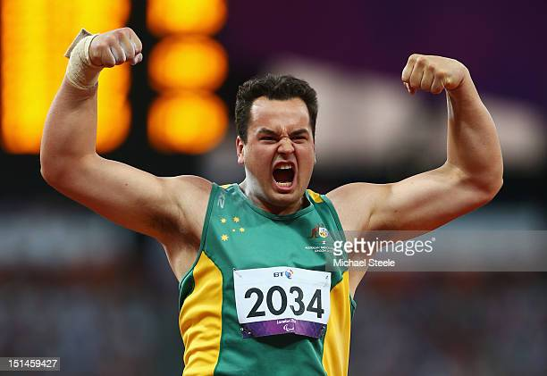 Todd Hodgetts of Australia celebrates during the Men's Shot Put F20 Final on day 9 of the London 2012 Paralympic Games at Olympic Stadium on...