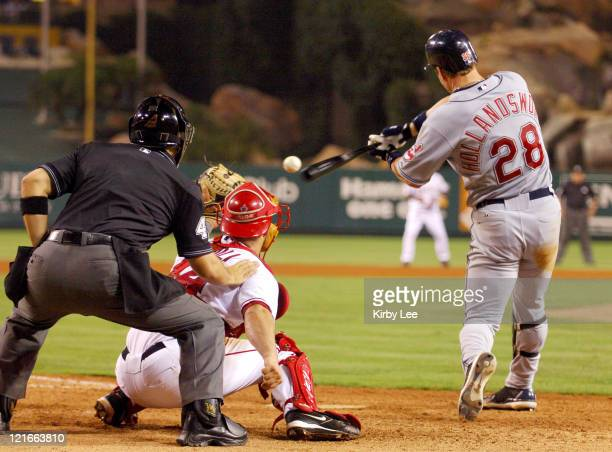 Todd Hollandsworth of the Cleveland Indians bats during 105 loss to the Los Angeles Angels of Anahiem at Angel Stadium Anaheim California on Monday...
