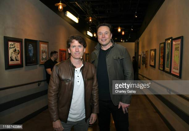 Todd Howard and Elon Musk backstage at the Elon Musk in Conversation with Todd Howard panel during E3 2019 at the Novo Theatre on June 13 2019 in Los...