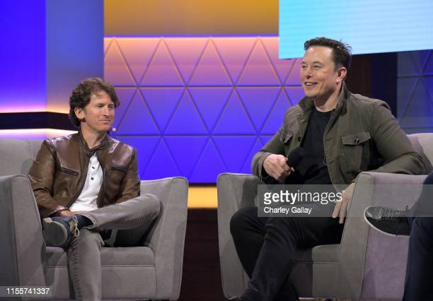 Todd Howard and Elon Musk speak onstage at the Elon Musk in Conversation with Todd Howard panel during E3 2019 at the Novo Theatre on June 13 2019 in...