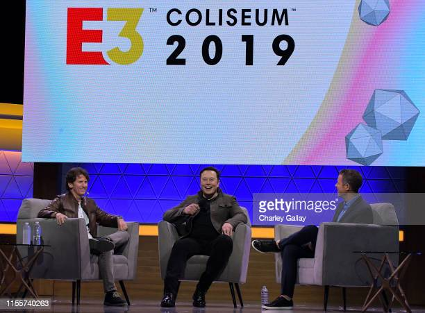 Todd Howard Elon Musk and Geoff Keighley speak onstage at the Elon Musk in Conversation with Todd Howard panel during E3 2019 at the Novo Theatre on...