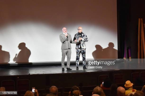 Todd Hughes and P David Ebersole attend the House Of Cardin Special Screening At Palm Springs Modernism Week at The Plaza Theater on February 21 2020...
