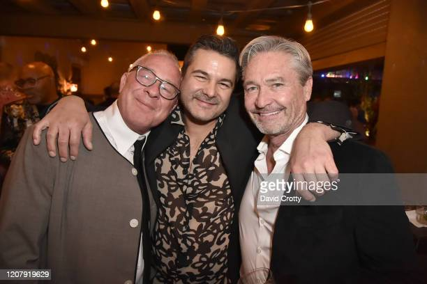 Todd Hughes Jose Serrano and Bennett Puterbaugh attend the House Of Cardin Special Screening At Palm Springs Modernism Week at The Plaza Theater on...