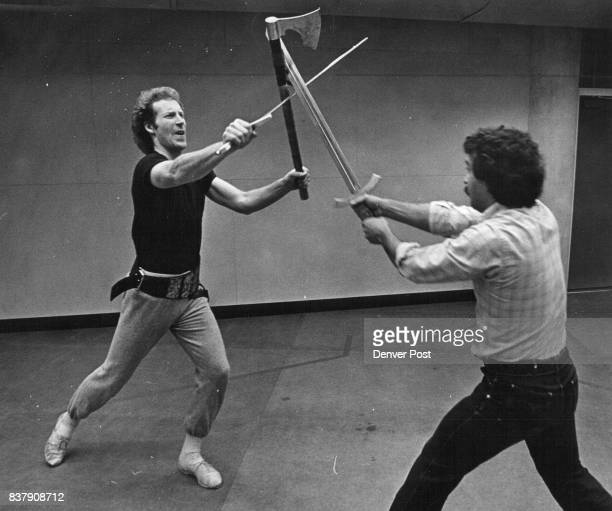 """Todd Jamieson left who portrays Archibald in the Denver Center Theatre Company production of ''King Henry IV Part I """" squares off with fight..."""