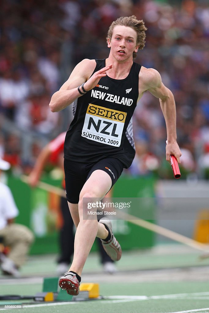 Todd Johnston of New Zealand runs in the boy's medley relay final during day five of the Iaaf World Youth Championships at the Bressanone Sports Complex on July 12, 2009 in Brixone Bressanone, Italy.