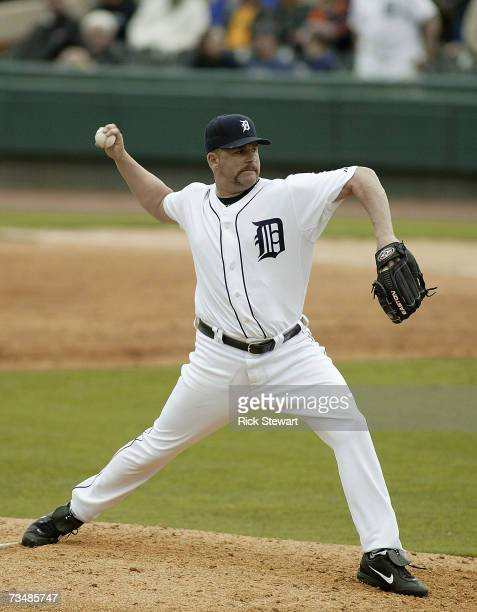 Todd Jones of the Detroit Tigers pitches against the Cleveland Indians during a Spring Training game on March 32007 at Joker Marchant Stadium in...