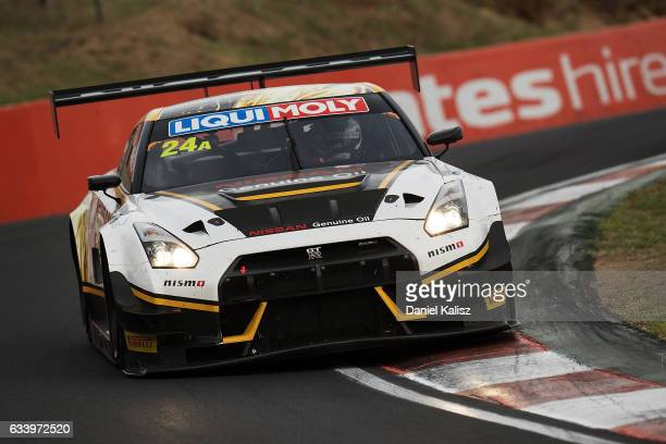Todd Kelly drives the Nissan Motorsport GTR Nismo GT3 during the 2017 Bathurst 12 hour race at Mount Panorama on February 5 2017 in Bathurst Australia