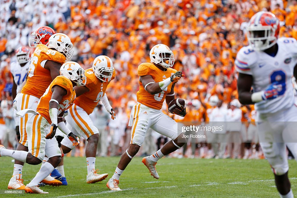 Todd Kelly Jr. #6 of the Tennessee Volunteers celebrates after intercepting a pass during the game against the Florida Gators at Neyland Stadium on October 4, 2014 in Knoxville, Tennessee. Florida defeated Tennessee 10-9.