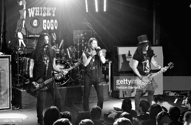 Todd Kerns Brent Fitz Myles Kennedy and Slash perform onstage at SiriusXM Presents Slash Ft Myles Kennedy and The Conspirators at Whisky a Go Go on...