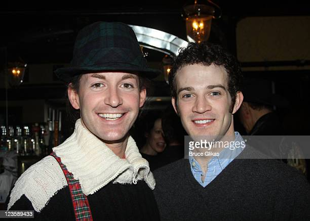 Todd Lattimore and AJ Shively and poses at the after party for Kelsey Grammer Douglas Hodge Robin De Jesus Fred Applegate's final performance in 'La...
