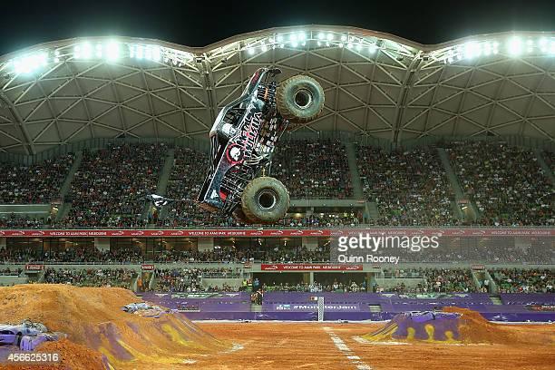 Todd Leduc driving Metal Mulisha jumps during Monster Jam at AAMI Park on October 4 2014 in Melbourne Australia