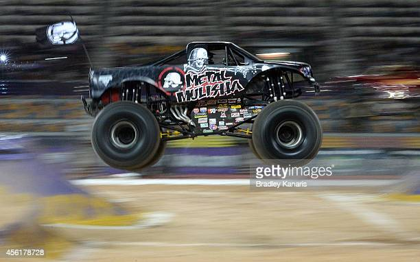 Todd Leduc representing Metal Mulisha goes over the jump during Monster Jam at Queensland Sport and Athletics Centre on September 27 2014 in Brisbane...
