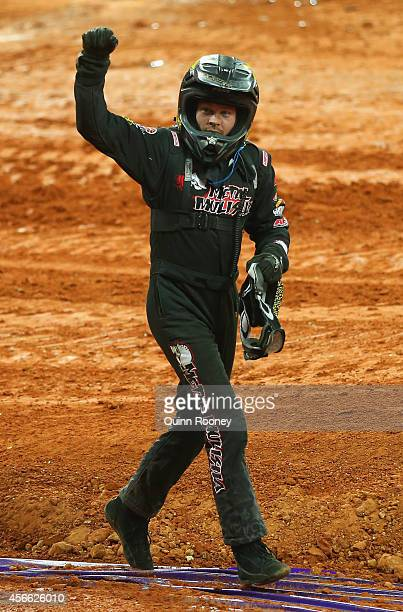 Todd Leduc the driver of Metal Mulisha acknowledges the crowd during Monster Jam at AAMI Park on October 4 2014 in Melbourne Australia