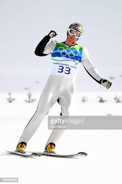 Todd Lodwick of United States celebrates after successfully landing his jump during the Nordic Combined Men's Individual NH on day 3 of the 2010...