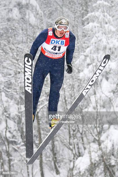 Todd Lodwick of USA jumps during the Ski Jumping 100M Hill competition of the Nordic Combined Individual event at the FIS Nordic World Ski...
