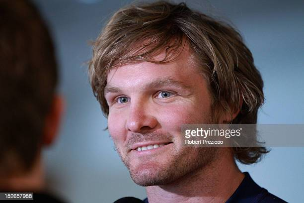 Todd Lowrie speaks to the media during a Melbourne Storm NRL media session at AAMI Park on September 24 2012 in Melbourne Australia