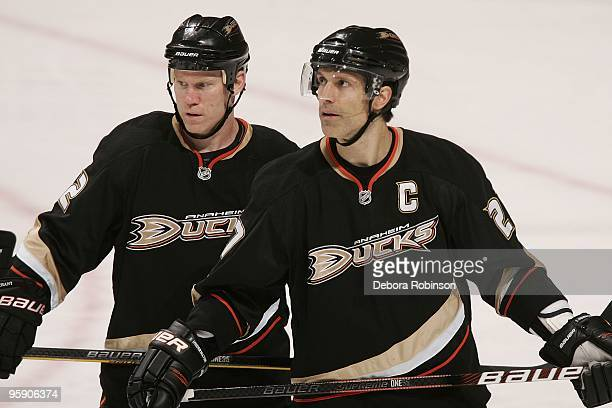 Todd Marchant and Scott Niedermayer of the Anaheim Ducks skates on the ice against the Buffalo Sabres during the game on January 19 2010 at Honda...