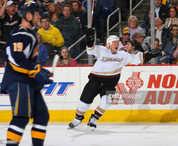 Todd Marchant of the Anaheim Ducks celebrates his second period goal in front of Tim Connolly of the Buffalo Sabres at HSBC Arena February 24 2009 in...