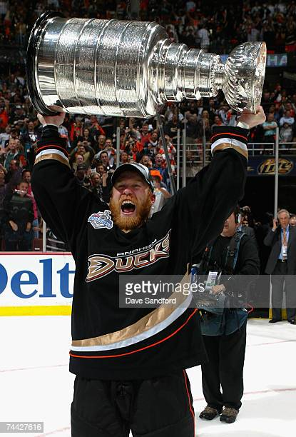 Todd Marchant of the Anaheim Ducks celebrates lifting the Stanley Cup after defeating the Ottawa Senators in Game Five of the 2007 Stanley Cup finals...