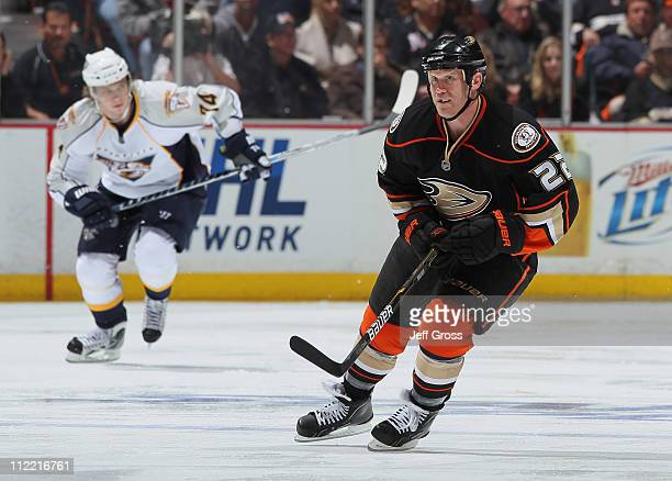 Todd Marchant of the Anaheim Ducks skates against the Nashville Predators in Game One of the Western Conference Quarterfinals during the 2011 NHL...