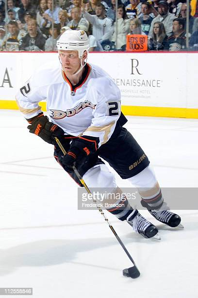 Todd Marchant of the Anaheim Ducks skates against the Nashville Predators in Game Three of the Western Conference Quarterfinals during the 2011 NHL...