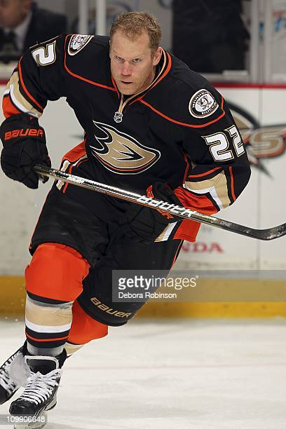 Todd Marchant of the Anaheim Ducks skates on the ice before the game against the New York Rangers on March 9 2011 at Honda Center in Anaheim...
