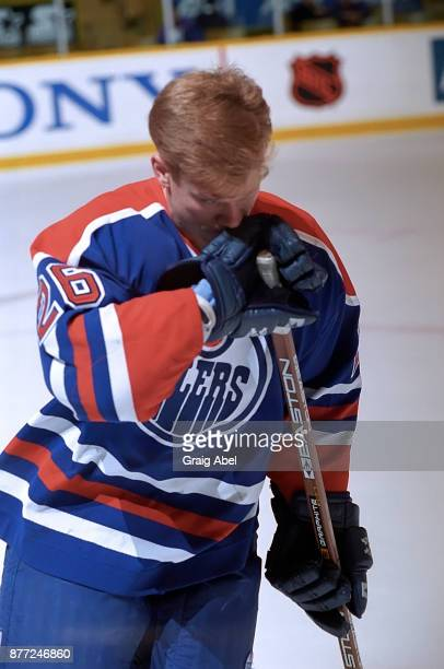 Todd Marchant of the Edmonton Oilers skates against the Toronto Maple Leafs during NHL game action on April 13 1996 at Maple Leaf Gardens in Toronto...